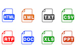 Convert HTML, XML, text, CSV, RTF, Word, Excel and PowerPoint files into PDF format